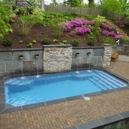 water feature - fiberglass pool in new braunfels